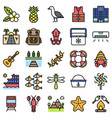 summer vacation related icon set 5 filled style vector image vector image