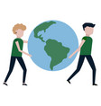 the guy and the girl are carrying the planet earth vector image vector image