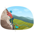 two multi ethnic climbers climbing on the rock vector image vector image
