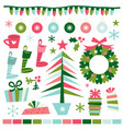 whimsical fun retro christmas accents vector image vector image