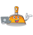 with laptop dustpan character cartoon style vector image