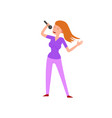 woman singer with long hairstyle isolated lady vector image vector image