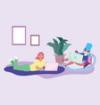 working remotely women on chair and lying on vector image