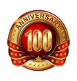 100 anniversary golden label with ribbon vector image vector image