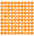 100 water recreation icons set orange vector image vector image