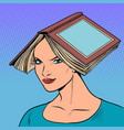 a smart well read woman with books vector image