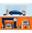 Auto mechanic 2 flat banners set vector image vector image