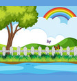 background scene with butterflies and rainbow vector image