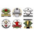 baseball sport game club icons with player items vector image vector image