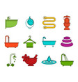 Bathroom icon set color outline style