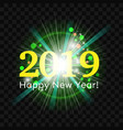 beautiful green fireworks happy new year 2019 vector image