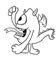 black and white monster vector image vector image