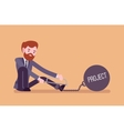 Businessman chained with a metall weight Project vector image vector image