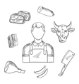 Butcher proffesion and meat icons vector image