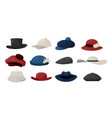 cartoon hats fashion caps collection vintage vector image