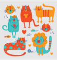 cat zoo hand drawn flat design cartoon vector image vector image
