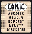 comic cartoon alphabet set letters numbers for vector image