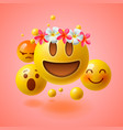 emoticons with flower on head summer concept vector image vector image