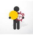 figure man holds alarm clock and tag vector image