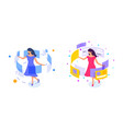 flat young girl whirl with dress and interface vector image