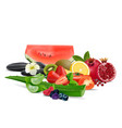 fresh fruits and vegetables isolated on white vector image vector image