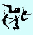 gymnastic teenager girl action sport silhouette vector image vector image
