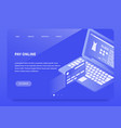 isometric online payment landing page vector image vector image