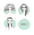models on a mint background vector image