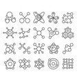 molecule model icons set chemistry structure of vector image