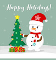 new year and christmas card cute snowman in a vector image