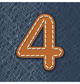 Number 4 made from leather on jeans background vector image vector image
