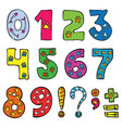 numbers and signs funny set vector image vector image