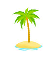palm tree on island isolated on white background vector image vector image
