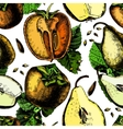 Pattern of ripe persimmon and pears vector image vector image