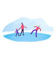 people skating on open air rink in winter time vector image vector image