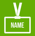 plastic name badge with neck strap icon green vector image vector image