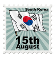 post stamp of national day of South Korea vector image vector image