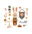 poster with bohemian baby boy elements vector image vector image