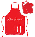 Red apron and mittens vector image vector image