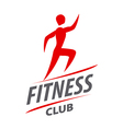 Red logo man running for fitness club vector image vector image