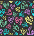 seamless pattern with hearts on black background vector image vector image