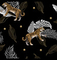 seamless pattern with tigers and leaves vector image vector image
