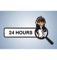 Service search 24 hours center girl cartoon vector image