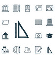 set of 16 school icons includes measurement vector image vector image