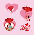 set of love cartoons vector image
