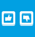 signs hand up and down in squares icon white vector image vector image