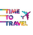 summer vacation plane travel color text quote vector image vector image