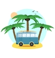 Surf Van and palm Flat Design vector image