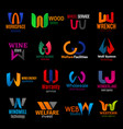 w corporate identity letter icons color trend set vector image vector image