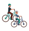 young man riding bicycle cycling together with vector image vector image